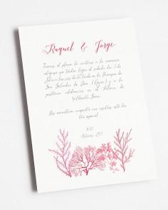 invitación coral arrecife boda