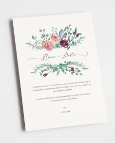 invitación de boda eucalipto y rosas