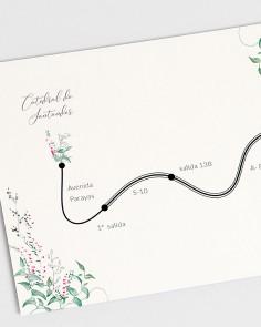 Detalle plano de boda floral Hiedra y Brezo