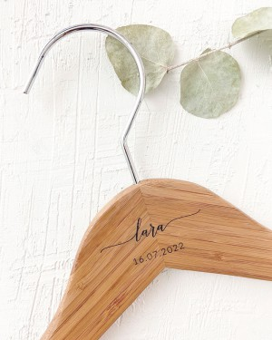 PERSONALIZED BAMBOO HANGER WITH ENGRAVED NAME AND DATE